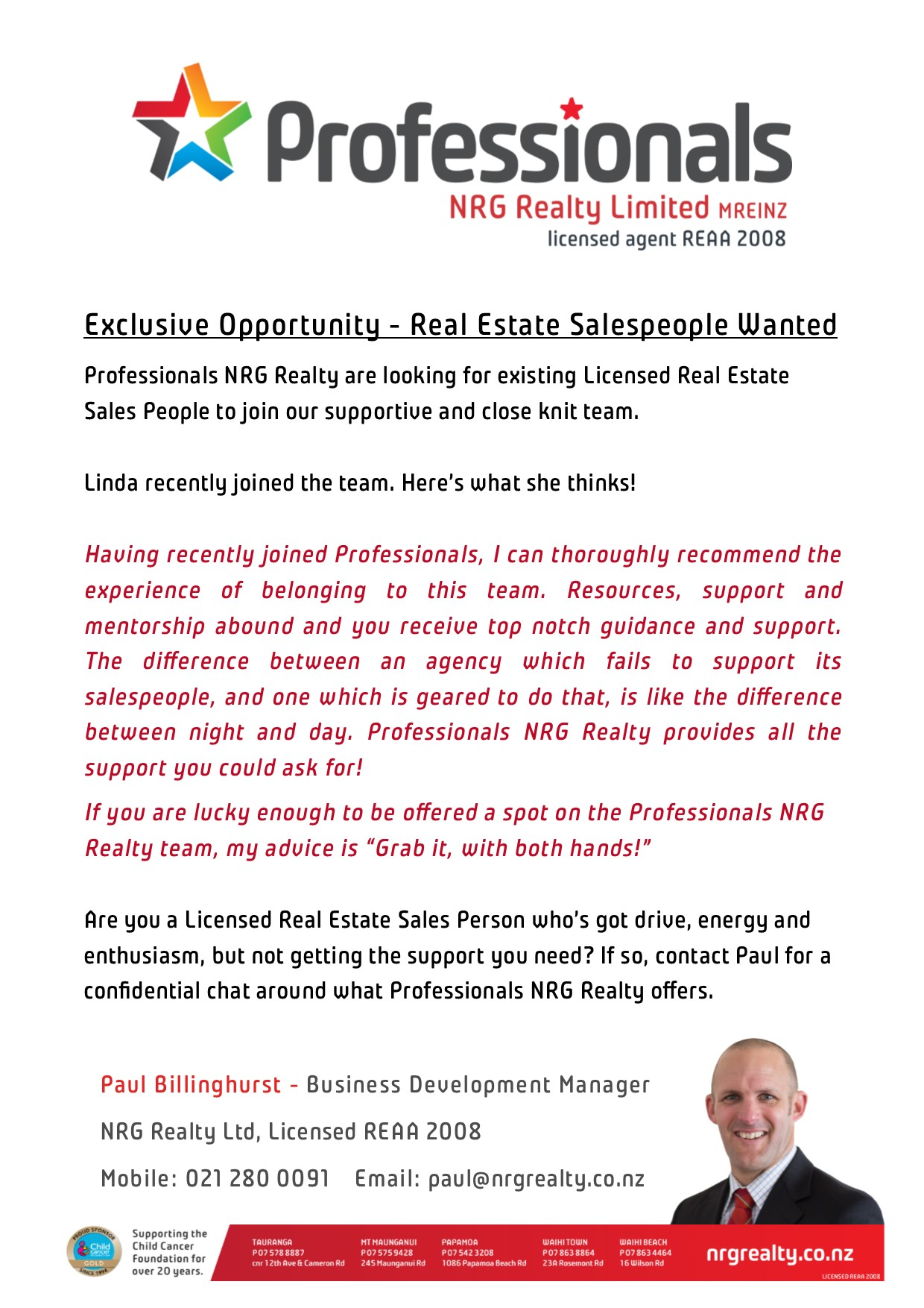 NRG Realty salesperson ad
